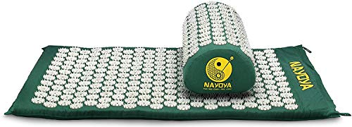 NAYOYA Back and Neck Pain Relief - Acupressure Mat and Neck Pillow Set - Relieves Stress, Back, Neck, and Sciatic Pain - Comes in a Carry Box with Handle for Storage and Travel - As Seen in USA Today