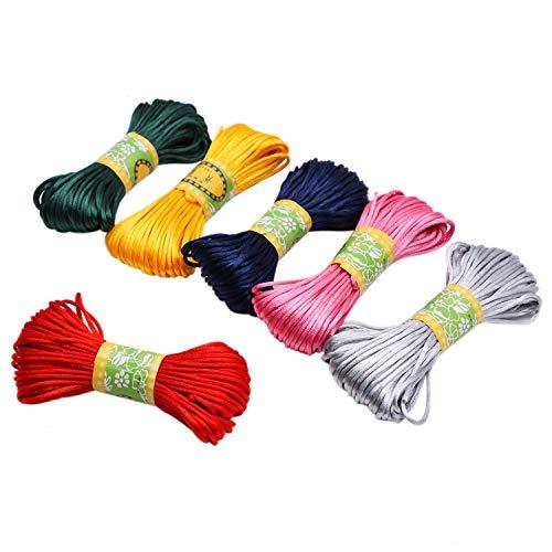 JETEHO 6 Bundles Satin Cord 2mm Satin Nylon Trim Cord, Rattail Silk Cord, Assorted Colors Nylon String for Beading Jewelry Making ()