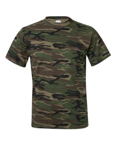 Anvil Midweight Camouflage T-Shirt (939)- CAMOUFLAGE GREEN,3XL