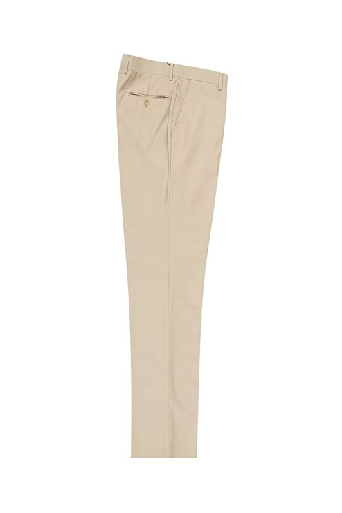 1950s Men's Clothing Tiglio Luxe Tan Flat Front Modern Fit Pure Wool Dress Pants 2560 TIG1004 $99.00 AT vintagedancer.com