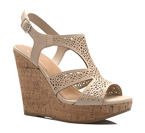 OLIVIA K Women's Open Toe T-Straps Strappy High Wedge Heel Wood Decoration Buckle Shoes Sandals
