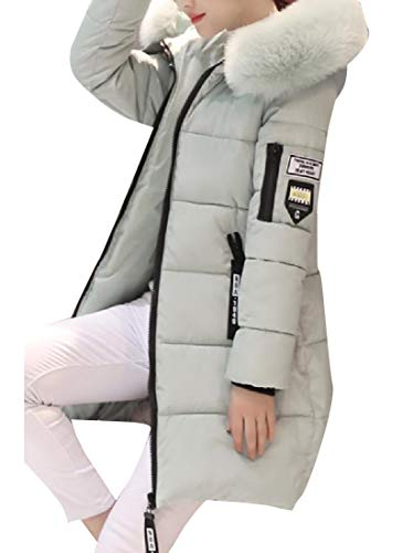 Slim Puffer Casual Women Pockets Fluffy Light Green Collar with Jacket Howme xAn5fwn