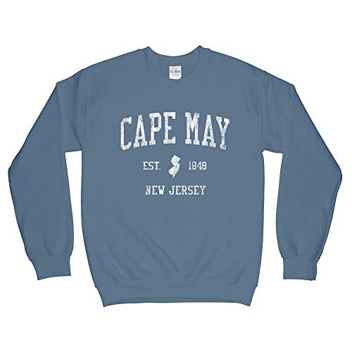 Cape May New Jersey NJ Sweatshirt - Vintage Athletic Sports Retro State Design - Indigo Blue Adult Medium (Unisex) (Distressed Jersey Sweatshirt)