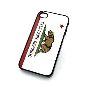 BLACK Snap On Case IPHONE 4 4S Plastic Cover - CALIFORNIA REPUBLIC GRIZZLY BEAR cali red star united states west coast beach brown state
