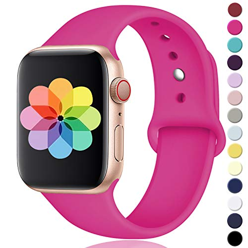 DGege Compatible with Apple Watch Band 38mm 40mm, Small/Medium, for Women Men, Hot Pink, Silicone Sport Replacement Band Compatible with iWatch Series 4, Series 3, Series 2, Series 1]()