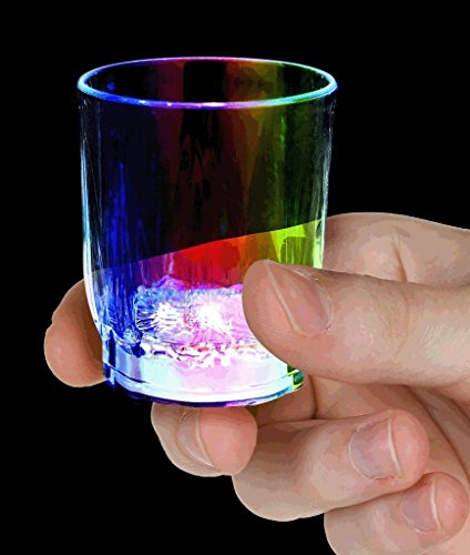 Set of 5 Flashing Panda 2 oz Light-Up Flashing Shot Glasses with Multi-Colo
