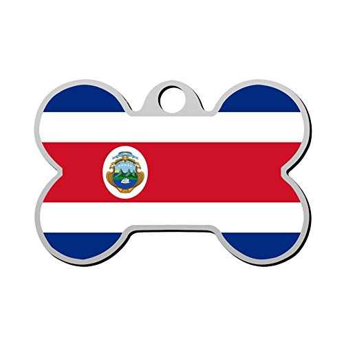 XInhaoLEI Flag of Costa Rica Dog Tags Personalized Double Sided Stainless Steel Pet ID Tag ()