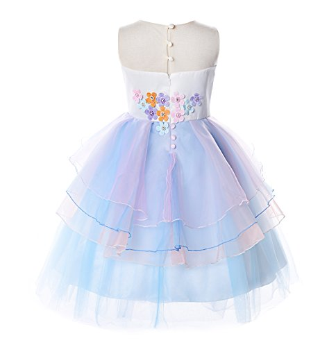 JerrisApparel Flower Girls Unicorn Costume Pageant Princess Party Dress (7 Years, Blue) by JerrisApparel (Image #1)