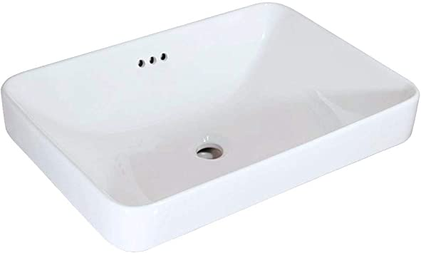 WinZo WZ6173 Bathroom Semi-Recessed Vessel Sink,Square Slim Design,Drop-in Vanity Countertop Porcleain ceramic basin white