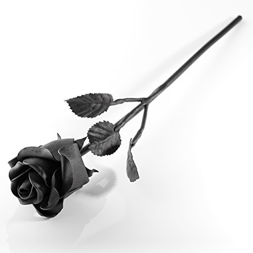 Hand Forged Iron Rose - 100% Wrought Iron Flower In Black - Unique Anniversary Gift (Long Stem)