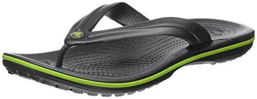 crocs Unisex's Crocband Flip Flop,  Graphite/Volt Green, 11 US Men / 13 US Women - Green Flip Flops Sandals