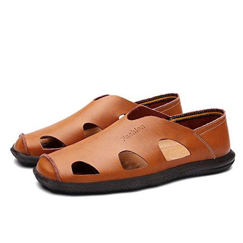 Exposés Chaussures Chaussures Chaussures Brun Cuir D'Hommes Respirant Sandales Jeunes 170 Soft Sandales Chaussures Paresseux En Lin Cuir D'Été Hommes En D'Hommes Conduisant Rouge Marée 40 Les Xing wFaqvH8x
