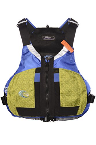 (MTI Adventurewear Women's PFDiva Life Jacket with Adjust-A-Bust System, Fractal Green/Ripstop Blue, Large/X-Large)