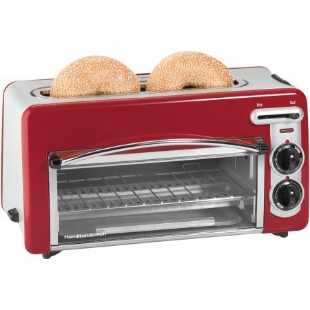 NEW Hamilton Beach Toastation Compact 2-in-1 Appliance Slice Toaster & Oven Features Removable Crumb tray and Oven rack (22703) - Red