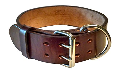 Pitbull & Large Breeds Leather Dog Collar - Free Personalization - Pet Training (Mahogany, 2