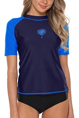 V FOR CITY Water Shirt for Womens Swim Rash Guard UPF 50+ Bathing Suit Top Surfing Shirt Navy M