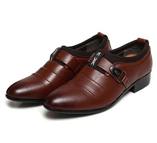 WZG zapatos casuales de la moda de los hombres a los hombres británicos señalaron los zapatos zapatos de la boda para ir a trabajar Brown