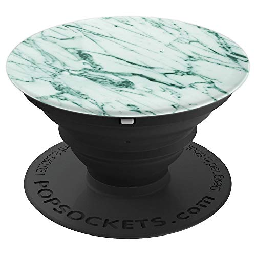 & Grace Classic & Vintage Green & Mint Marble on Black PopSockets Stand for Sma - PopSockets Grip and Stand for Phones and Tablets ()