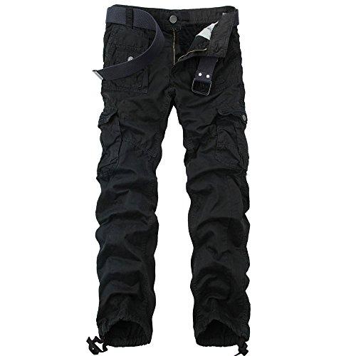 Men's Slim-fit Multi Pockets Military Cargo Pant Black Size US 32(label size 34)
