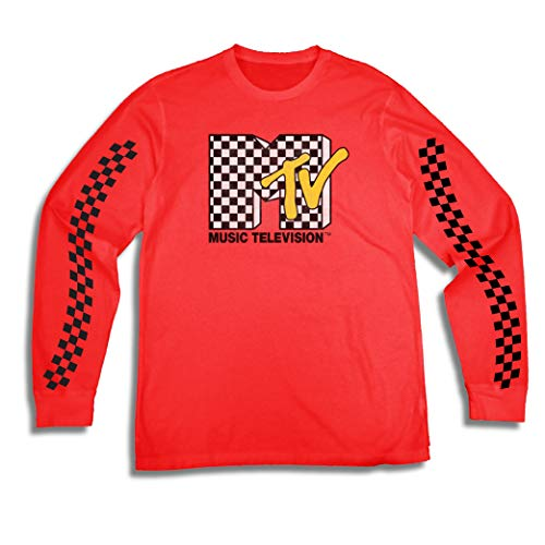 T-shirt Logo 80s (MTV Mens Long Sleeve Shirt - #TBT Mens 1980's Clothing - I Want My T-Shirt (Red, Large))