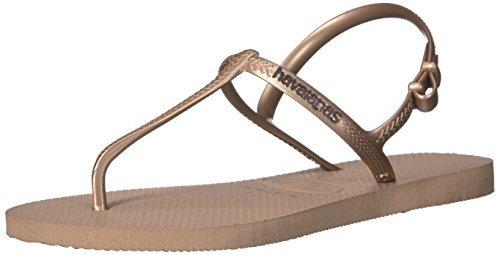 Havaianas Women's Freedom SL Flip Flop Sandals, Around Ankle Straps, Roman Sandal,Rose Gold,39 BR/9/10 W US