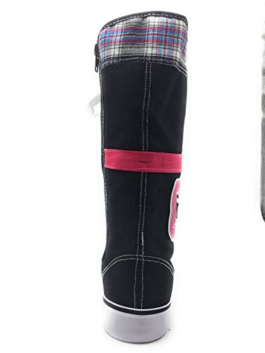 Lace H 0451 Fashion Shoes Sneakers Knee Mid pink up Boot New Color Black High Canvas Womens Calf Multi 4Rwqqt