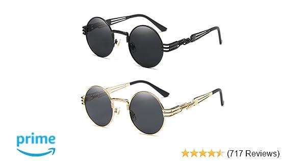 f5801d0bf6 Amazon.com  Dollger 2 Pack John Lennon Round Sunglasses Steampunk Metal  Frame Mirror Lens  Clothing