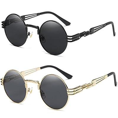 - 414gemBBtYL - Dollger John Lennon Round Sunglasses Steampunk Metal Frame
