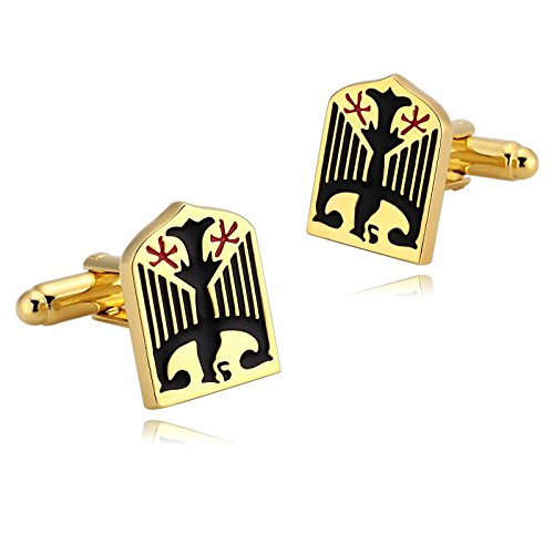 Cufflinks Green 18k - KnSam Stainless Steel Gold Black Fashion Eagle Shield Cufflinks for Mens Shirt Stud