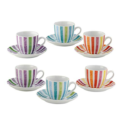 BIA Set of 6 Dolce Vita Espresso Cups & Saucers, Porcelain, Multi/Coloured, 115x115x60 cm