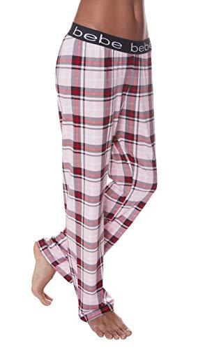 (bebe Womens Straight Leg Elastic Waist Lounge Sleep Plaid Pajama Pants Light Pink Small)