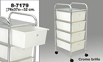 DonRegaloWeb - Carro de baño de 4 cajones de pvc en color blanco y estructura de metal. Medidas: 76x37x32cm: Amazon.es: Hogar