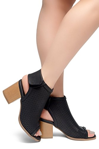 e567d5f6bcf Herstyle Maddie Women s Cut Out Ankle Strap with Low Stacked Heel Casual Ankle  Booties Open Peep