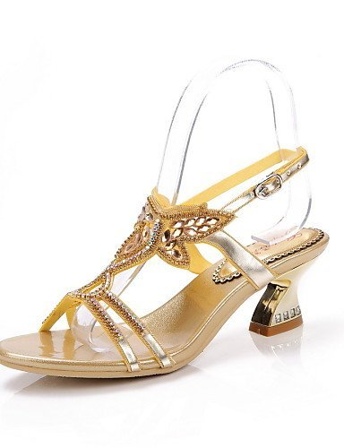 ShangYi Women's Shoes Leather Chunky Heel Heels Sandals Party & Evening / Dress / Casual Black / Blue / Red / Gold Black P3F4dz