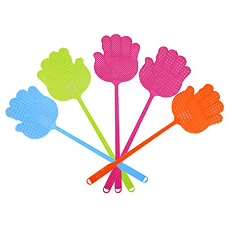 Little World Fly Swatter Pest Control Manual Swat or Heavy Duty Plastic Fly killer with Long Handle Multi-color of 5 Pack