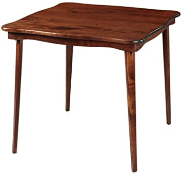 Scalloped Edge Wood Folding Card Table In Cherry Finish
