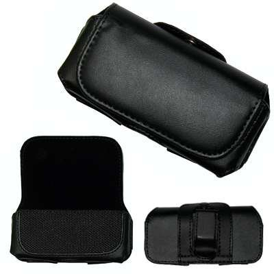Executive Black Horizontal Leather Side Case Pouch with Belt Clip and Belt Loops for RIM Blackberry 8100 Pearl, 8110, 8120, 8130 / Kyocera K126C, S1300 (Melo) / LG CF360 / - Pearl Leather 8130