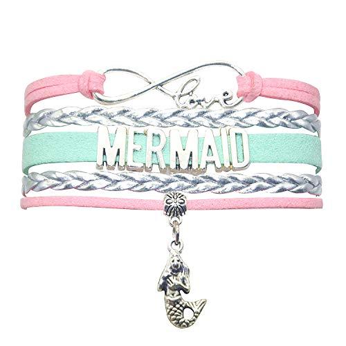 HHHbeauty Mermaid Slap Bracelet Jewelry Leather Infinity Love Mermaid Gifts Mermaid Jewelry Bracelet Gifts for Women, Girls, Teen Girls (Pink Silver and Mint Green)