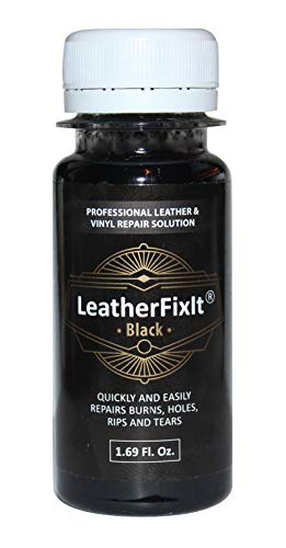 Black Leather & Vinyl Repair Solution | No-Heat, Fast Drying | Furniture, Car Seats, Couch, Chair, Jacket, Boots, Belt and Purse Repair Adhesive (Best Leather Seat Repair Kit)