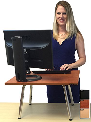 The Original Stand Steady Standing Desk - Converts Your Desk to Stand up Desk, Adjustable Height (Cherry)