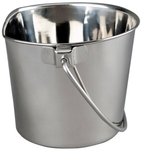 Advance Pet Products Heavy Stainless Steel Flat Side Bucket, 6-Quart ()