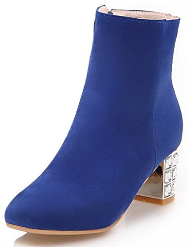 Heel Womens Short Medium (Summerwhisper Women's Stylish Faux Suede Square Toe Side Zipper Ankle Booties Block Medium Heel Short Boots Royal Blue 11 B(M) US)