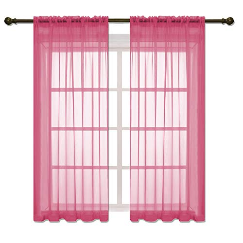 HOLKING Rod Pocket Sheer Curtains 63 inch for Bedroom Living Room Window Treatment Set Hot Pink Curtains,2 Panels Each is 52 inches Wide by 63 inches Long (Pink Hot Sheer Curtains)
