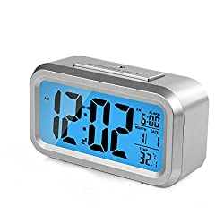 HeQiao Alarm Clocks Smart Large LCD Electronic Alarm Clocks Travel Alarm Clock Battery Operated with Calendar Temperature Snooze for Home Office (Silver with Blue Night Light)