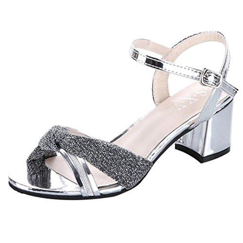 DDLBiz Women's Fashion Elegant Mid Heel Sandals Summer Charm Leather Shoes (US:5.5(8.8