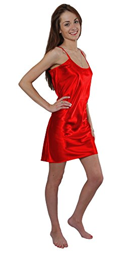 Satin Charmeuse Chemise with Belt, 5 Colors, Plus Sizes, Style-ChePL (3X, Red)