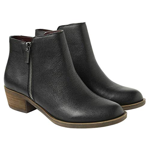 Womens Black Booties (kensie Women's Black Leather Ghita Short Ankle Boots)