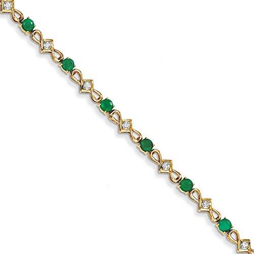 14 carats-Diamant-Émeraude-JewelryWeb Bracelet