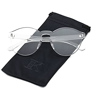 LKEYE-Fashion Party Rimless Sunglasses Transparent Candy Color Eyewear LK1737 Transparent Frame