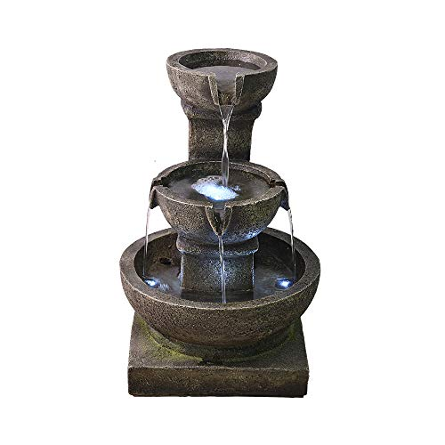 PeterIvan Outdoor Waterfall Fountain - Relaxing Soothing Outdoor Fountains for The Garden&Patio with LED Lights and Charming Outdoor Water Feature by PeterIvan